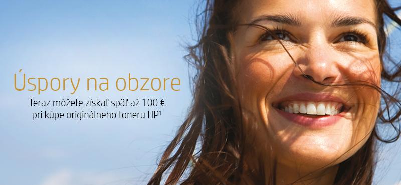 Úspory na obzore    Teraz môžete získať späť až 100 € pri kúpe originálneho toneru HP1